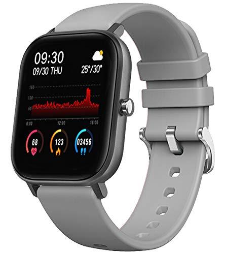 findtime Reloj de fitness para hombre y mujer, reloj deportivo con podómetro, pulsómetro, pantalla táctil, Bluetooth, Android, iOS, cronómetro, para hombre, color gris