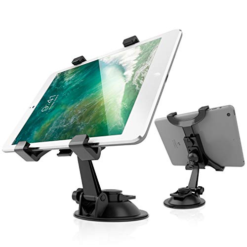 2-in-1 Tablet Holder for Car, Car Tablet Holder Mount Holder with Clamp for Dash Desk Windshield Headrest 360 Degree Rotation, iPad Stand Holder with Strong Cup Suction Universal Compatible for 7-11' Tablet