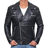 Motorcycle Jacket Men - Black Real Mens Leather Jackets for Biker | [1100051] Black Ngan, XS