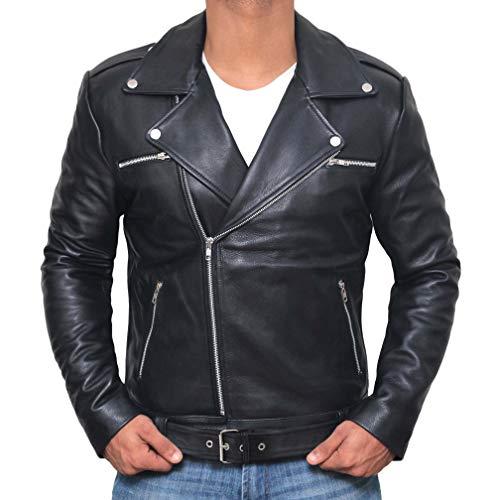 Genuine Black Leather Jacket for Men - Police Style Leather Jacket | [1100053] Black Ngan, M