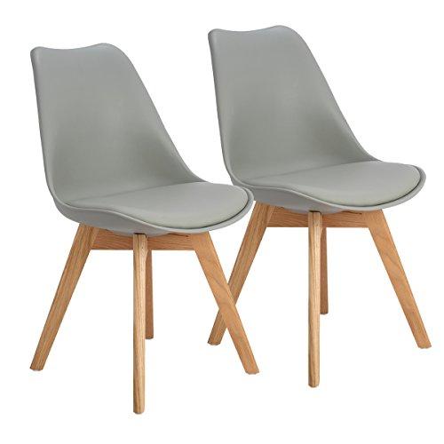 EGGREE 2er Set Esszimmerstühle Skandinavisch Küchenstuhl Stühle Modern mit Massivholz Eiche Bein und Kunstlederkissen, Grau