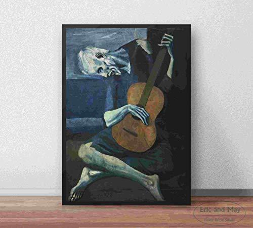 Viejo guitarrista Picasso arte de la pared pintura en lienzo carteles decoración del hogar carteles e imágenes de decoración impresas 60x90cmx1 sin marco