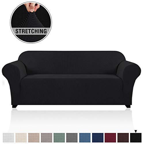 PrinceDeco Stretch SofaCover CouchCoversfor3CushionCouch SofaSlipcovers FurnitureCoversfor PetsDogs, SoftThickCheckedJacquard Fabric, Anti Slip Foam Articles(Sofa:72'-96',Black)