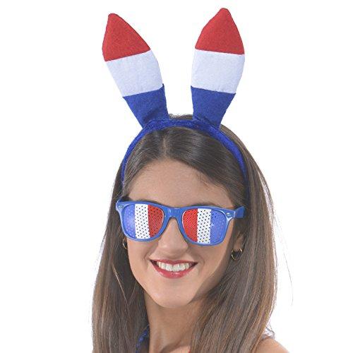 Aptafêtes - AC2808 - Serre-tête lapin tricolore France