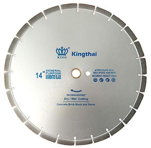 Kingthai 14 inch Concrete Dry or Wet Cutting General Purpose Segmented High Speed Diamond Saw Blades for Stone Brick Masonry with 1' Arbor