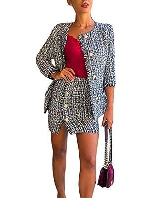 Women's Two Piece Winter Skirt Set Tweed Plaid Blazer Jacket Side Split Button Skirt Suit