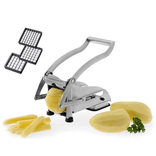 Westmark Pommes-frites Schneider und Gemüse-/Obststiftler mit drei Edelstahl-Schneideinsätzen und Stempel, Pomfri-Perfect, Silber, 11812260