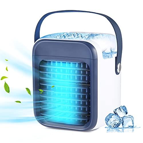 Mobile Klimageräte- 3-in-1 Tragbarer Mini Luftkühler mit 3 Lüftergeschwindigkeiten Air Cooler mit Wassertank für Heim und Büro (Blue)