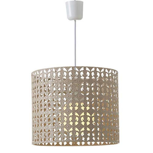 Lámpara de techo calada de metal beige de 25x30x30 cm