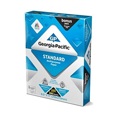 "Georgia-Pacific Standard Multipurpose Paper, 8.5"" x 11"", 20lb, 92 Brightness, 550 sheets, 6P Sheet"
