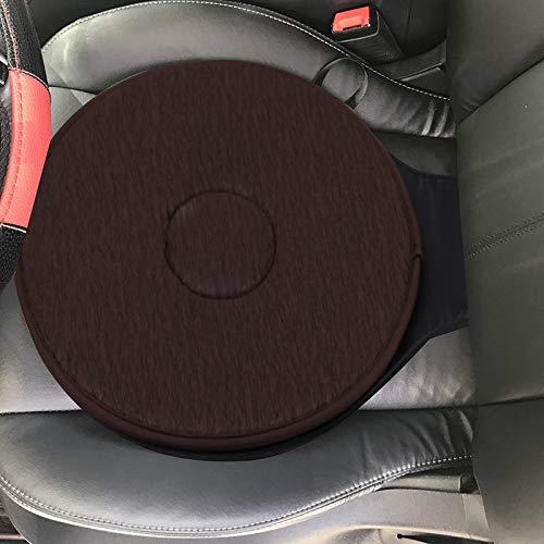TYBXK Seat Cushion 360 Degree Rotation Cushion Car Seat Foam Mobility Aid Chair Seat Revolving Cushion Swivel Car Memory Foam Mat 99 (Color : Brown)
