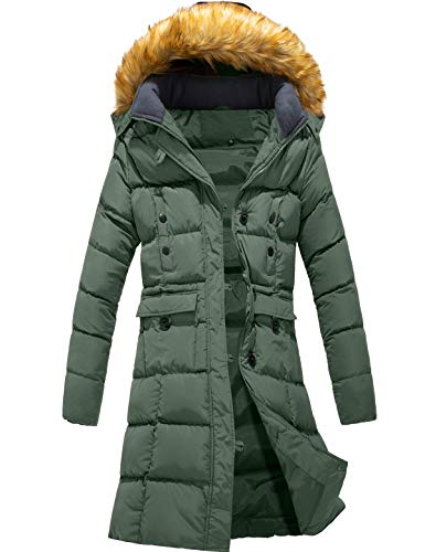 Szory Women's Hooded Warm Down Puffer Coat Parka with Removable Faux Fur Hood Jacket (Army Green,X-Large)