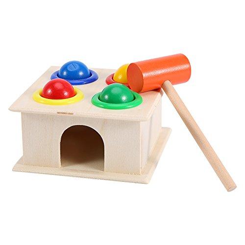 Zerodis Caja de Martillo de Bola de Madera, novedoso Juego de martilleo para niños Aprendizaje temprano Juguete Educativo Buen Regalo