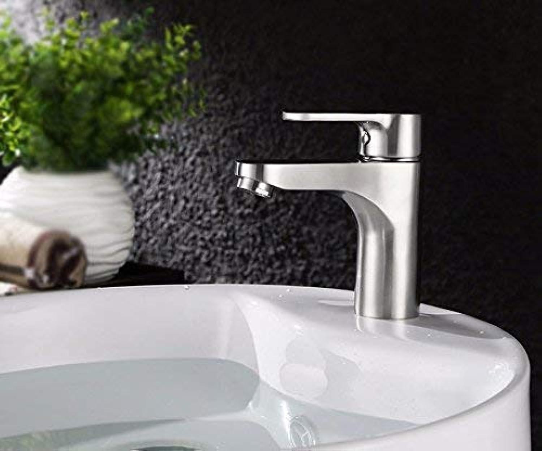 CFHJN Home Waschbecken Bad Einloch-Einhand-Einhand-Heisswasserarmatur mit kaltem und kaltem Edelstahl