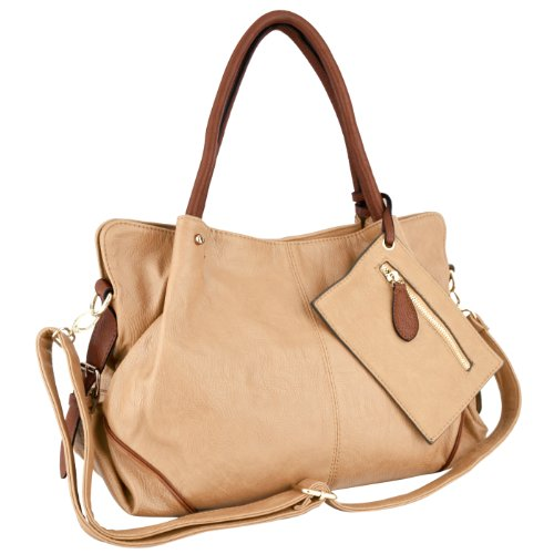 Hot Sale MG Collection LALANIE Camel Slouchy Soft Shopper Hobo Handbag w/Zippered Pouch