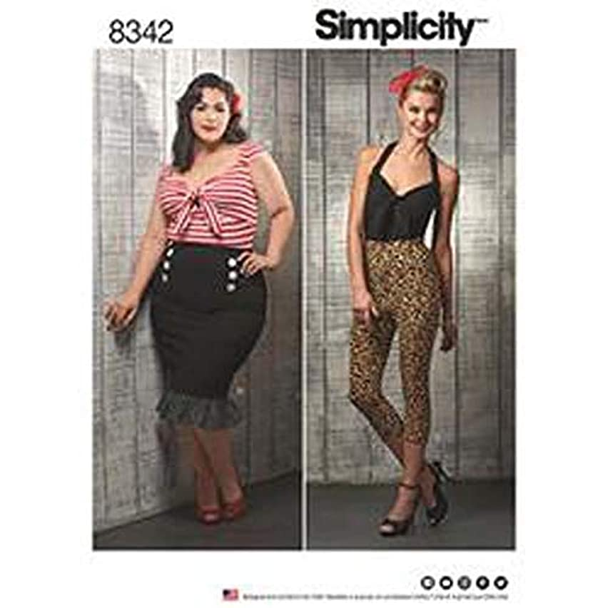 Simplicity SIM PAT 8342 Misses'/Women's Knit Tops, Cropped Pants, and Skirts, AA (10-12-14-16-18)