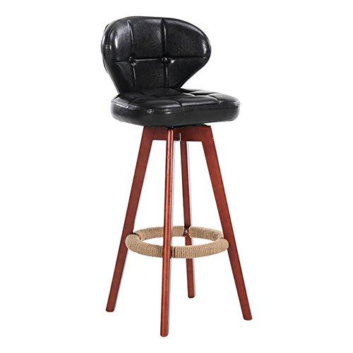 Ali@ 360 Degrés Pivotant Bois Solide Dossier PU Chaise, Classique À Manger Chaise Salon Bureau Espresso/Rustique, Classique (Couleur : NOIR, taille : 39cmX34cmX74cm)