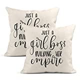 Heyqqo Set of 2 Cushion Covers Linen Just A Girl Boss Building Her Empire Inspirational Phrase. Modern Feminism Quote White Pillowcases Square Home Decor Throw Pillow Cases Sofa Bedroom 20x20 Inch