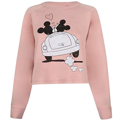 Disney Mickey and Minnie Mouse Hearts Cropped Crew Sudadera Recortada, Rosa (Dusty), 38 para Mujer