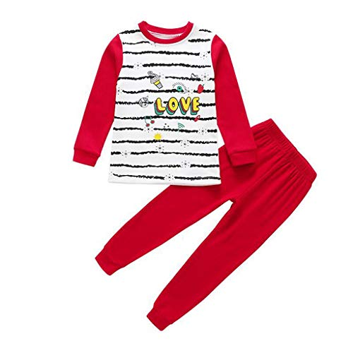 Cuteelf Kinder Langarm Baby Jungen Mädchen Streifen Cartoon Brief Tops + Pants Schlafen Kleidung Cartoon Gestreiften Buchstaben Print Pyjamas Home Service Set