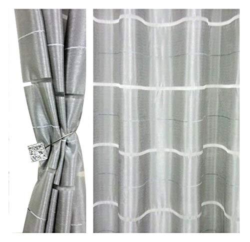 Halbtransparent Ösenvorhang Ösenschal Schal Dekoschal für Fenster Dekorative Gardine Farben Streifen 2er Set Vorhänge mit Ösen 145x245 cm AGV (V25)