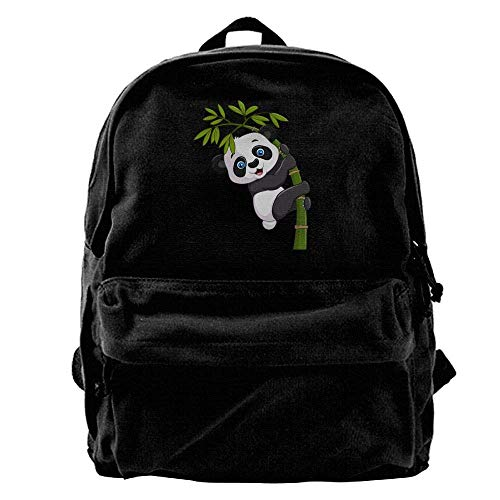 Zaini Casual, Zaini per PC portatili, 50% Off Unisex Classic Canvas Backpack Panda Bamboo Unique Print Style,Fits 14 Inch Laptop,Durable,Black