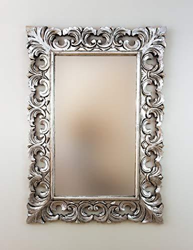 Rococo Espejo Decorativo de Madera Colonial Classic de 70x100cm en Plata (Envejecida)