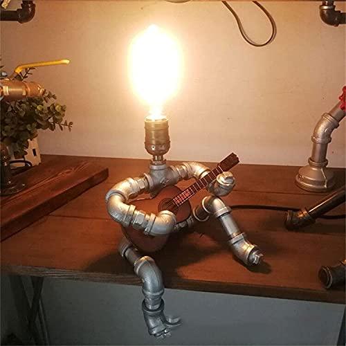Lámpara de mesa estilo steampunk, lámpara de mesa creativa de hierro industrial de pipa de agua, guitarra, estilo retro estilo steampunk lámpara de mesa bar restaurante cafetería decoración