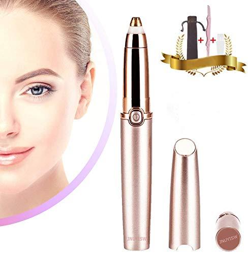 Augenbrauen Rasier Augenbrauen Trimmer für Frauen, Schmerzloses Elektrische Augenbrauen Epilierer Trimmer mit Austauschbarem für Eyebrow, Nase, Arm und Körper(Rose Gold)