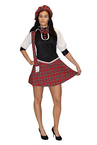 Foxxeo Sexy Schottin Kostüm für Damen Schottenrock Damenkostüm Schotte Kleid Karneval, Größe:M