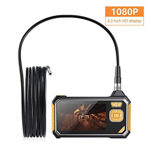 LJYNKJ Industriële endoscoop handendoscoopcamera 1 m halfstijve snake kabel inspectiecamera 4,3 inch LCD-scherm digitaal waterdicht video-opname 1080p HD zonder draadloze verbinding
