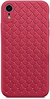 Mobile Phone Silicon case, Grid Weaving Flexible Thin, Lightweight (iPhone XR, red)