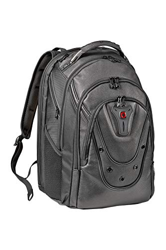 Wenger 605499 Ibex 17' Backpack Leather with Shock Absorbing Shoulder Straps In Black {26 Litres}