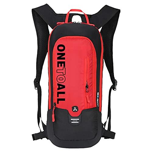 LOCAL LION Fahrradrucksack Skirucksack klein für Damen & Herren 6L Ultraleicht wasserdicht für Trinkblase bis 2L - Ideale zum Skifahren | Radsport | Camping rot OHNE TRINKBLASE
