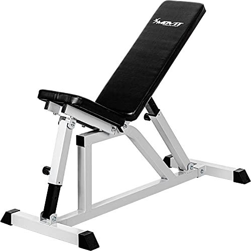 Movit® Schrägbank, Sitz und Rückenlehne mehrfach verstellbar, Hantelbank Multifunktionsbank Heim-Trainingsgerät Home-Gym, weiß