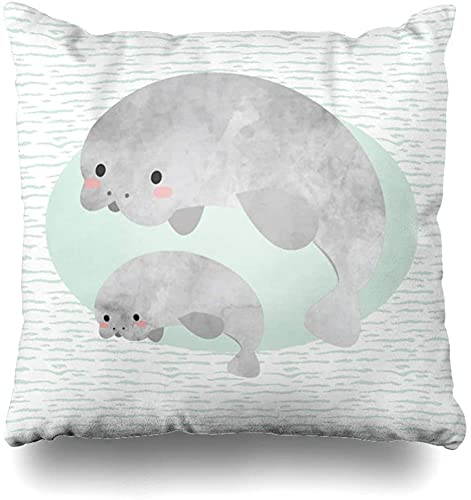 Manatí Waves Nursery Seals Familia Algodón Throw Pillow Cover Decoración del hogar Bonito Regalo Interior Funda de Almohada Tamaño estándar(20×20)