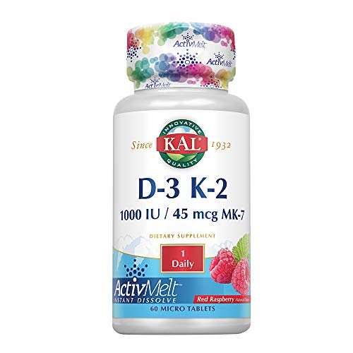 Kal 1000 Iu D-3 & K2 Tablets, Raspberry, 60 Count (Pack of 1)