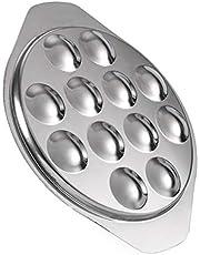 Nicexmas - Platos de caracoles de caracol de acero inoxidable planos de caracol de caracol con 12 agujeros de compartimento, plato de caracoles para cocinar caracoles