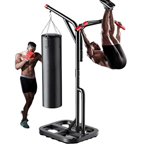 Boxing Heavy Bag Stand, Sandbag Rack with Power Tower Pull Up Dip Station, Free Standing Heavy Duty Punching Bag Stand, Home Gym Strength Training Workout Equipment, Weight Capacity 330 Lbs (Black)