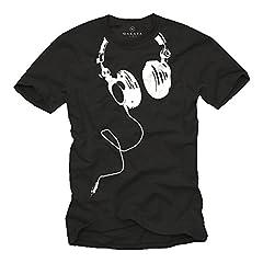 MAKAYA Camiseta con Auriculares Hombre DJ Beats