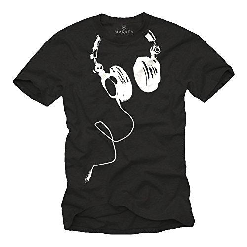 MAKAYA Camisetas Negras Hombre con Manga Corta - DJ Auriculares - XL