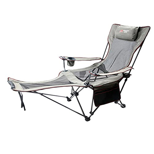 GQFGYYL Camping Chair with Foot Rest, Heavy Duty Portable Lawn Folding Outdoor Chairs with Arm Chair with Cup Holder Pillow and Carry Bag