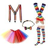 Xiuinserty Tutu Gonna Bambini 5 in 1 Rainbow, Costume Set Guanti Calze, Tutù Gonna Bretella