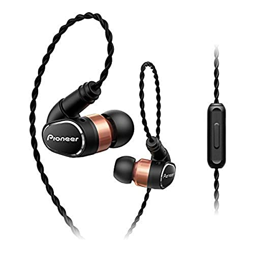 Pioneer SE-CH9T(K) Hi-Res Audio In-Ear Headphones (Aluminium Body, Control Panel, Microphone, Removable Over-the-ear Cables, Reinforced Earplugs, Lightweight and Convenient, 3.5mm jack) Black