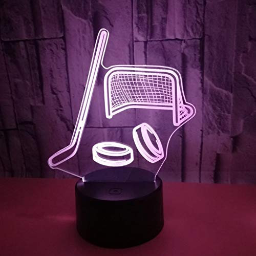 3D LED Night Light Ice hockey stick with 7 Colors Light for Home Decoration Lamp Amazing Visualization Optical Illusion Awesome