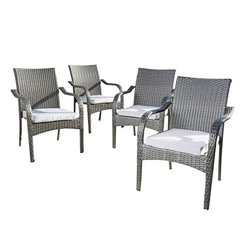 Set of 4 Gray Contemporary Outdoor Furniture Patio Stacking Chairs - Silver Cushions