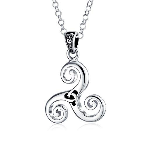 Celtic Triskele Triquetra Trinity Knot Viking Pendant Necklace For Men Women Oxidized 925 Sterling Silver