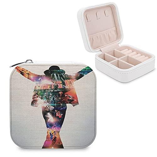 The King of Pop Michael Jackson This Is It - Joyero de piel sintética, pequeño, portátil, para viajes, para collares, pendientes, anillos, joyas, para niñas y mujeres