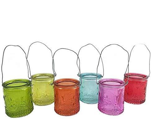 itsisa Hängewindlicht, bunt (24er Box) tolle Teelichthalter mit Henkel zum hängen, Windlicht, Teelichtergla