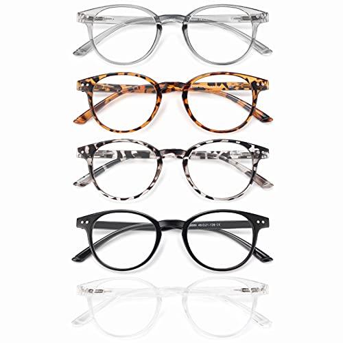 Axot Gafas de lectura con bloqueo de luz azul, paquete de 5 unidades, antifatiga ocular, antirreflectante, dolor de cabeza para mujeres y hombres, Mezcla de 5 pares., M